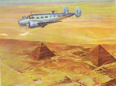 Beechcraft 18 over the Pyramides of Gizeh